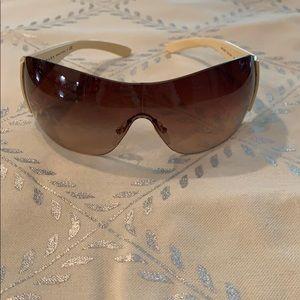 Prada Shield Ivory Brown Gradient Sunglasses